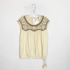 Anthropologie | cream embroidered blouse small